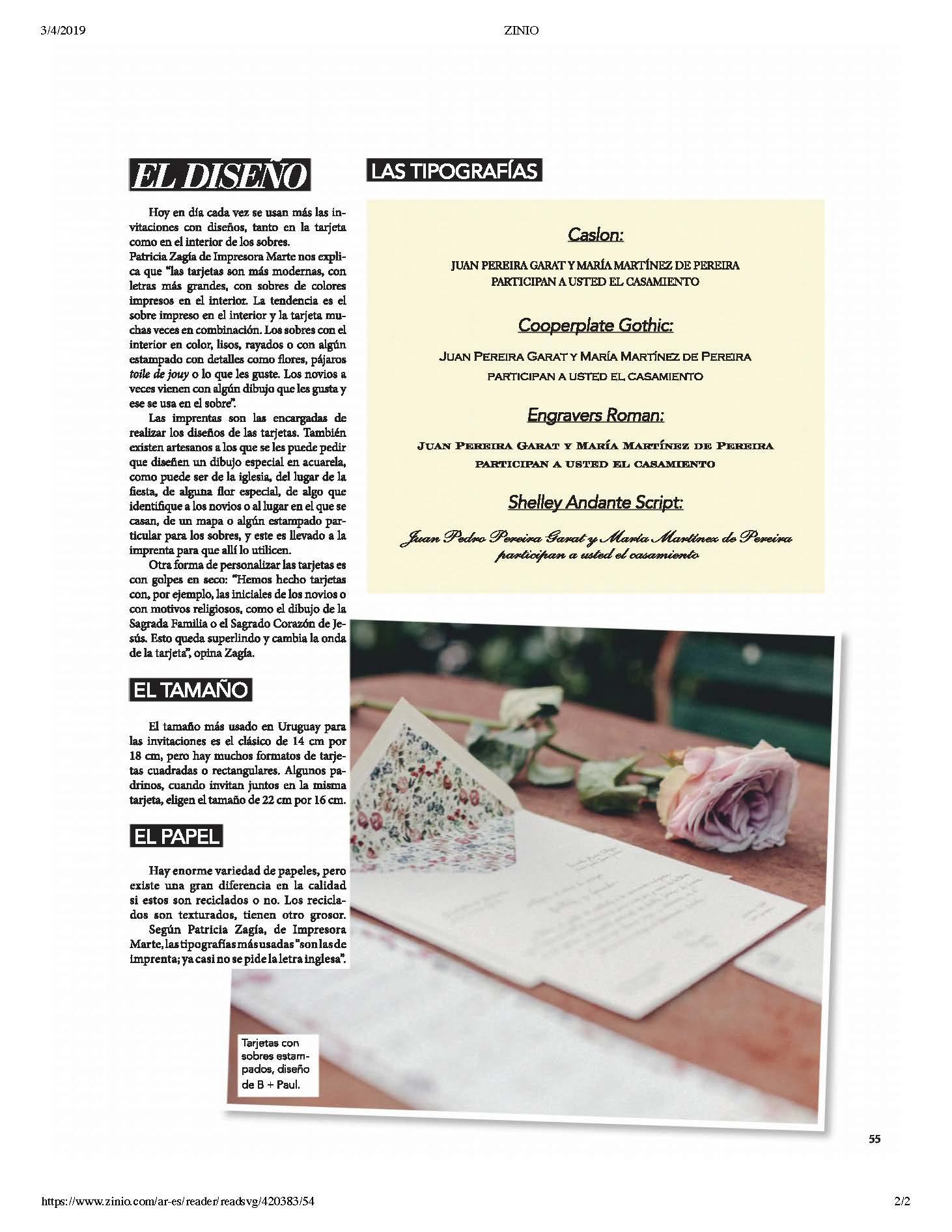 Nota En Revista Bodas Uruguay 2019 Fabs Calligraphy